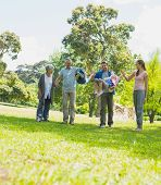 pic of extended family  - Full length of a happy extended family walking in the park - JPG