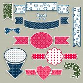 Set of vector plain paper cut design elements.