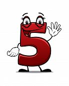 picture of cheeky  - Cartoon cheeky waving number 5 with a happy smile - JPG