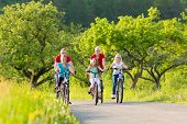 stock photo of dirt-bike  - Family with three girls having a weekend excursion on their bikes or bicycles on a summer day in beautiful landscape - JPG