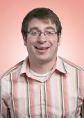 picture of feeling stupid  - Funny laughing young man portrait on pink background - JPG