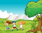 image of hilltop  - Illustration of the three kids at the hilltop with an empty flag banner - JPG