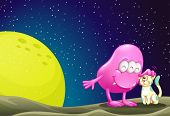 stock photo of outerspace  - Illustration of a pink beanie monster pacifying the cat in the outerspace - JPG