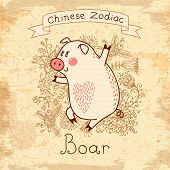 Image of vintage card with chinese zodiac - boar. Vector illustration. Eps 10.