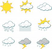pic of meteoric rain  - Wheather vector  icons on white background - JPG