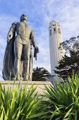 stock photo of christopher columbus  - Coit Tower aka the Lillian Coit Memorial Tower on Telegraph Hill neighborhood of San Francisco California United States of America - JPG