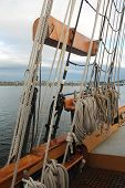 pic of tall ship  - Some of the ropes and rigging on a tall sailing ship in a Pacific Northwest harbor - JPG