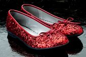pic of ruby red slippers  - Horizontal image of sequined red slippers on dark tile - JPG