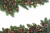 stock photo of mistletoe  - Traditional natural christmas background border with mistletoe - JPG
