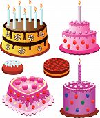 picture of birthday-cake  - vector sweet cakes set for birthday and valentine day - JPG
