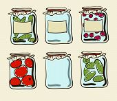 picture of household farm  - vector Jars with preserves homemade vegetables and jam - JPG