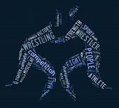 picture of wrestling  - wrestling word cloud with blue wordings on blue background - JPG