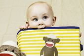 stock photo of sock-monkey  - An infant boy sitting in a sock monkey box smiling - JPG