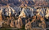 foto of goreme  - View of Cappadocia valley at spring sunset - JPG