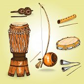 stock photo of bongo  - Collection of musical instruments of capoeira - JPG
