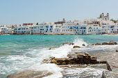 pic of greek-island  - Boats at Naoussa harbor in Greek island of Paros - JPG