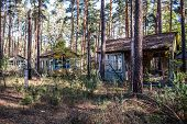 picture of nuclear disaster  - ruined houses in holiday resort Izumrudnoe  - JPG