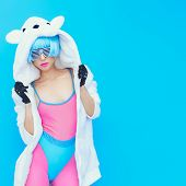 picture of swag  - teddy bear girl on a blue background - JPG