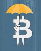 picture of bit coin  - Bit coin with an umbrella standing under rain - JPG