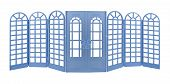 foto of french curves  - Blue Room Divider with curved tops and Doors  - JPG