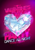 pic of glass heart  - Valentines day party pink design with diamond heart - JPG