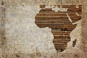 foto of continent  - Grunge vintage wooden plank Africa map background - JPG