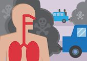 stock photo of fumes  - A cross section of a persons lungs breathing in traffic fumes - JPG