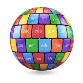 Постер, плакат: View Of Group Color Cubes In The Sphere Spape Domain Names