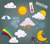 stock photo of rainy weather  - a weather vector set with cute weather icons - JPG