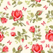 stock photo of rose  - Luxurious retro floral seamless pattern  - JPG