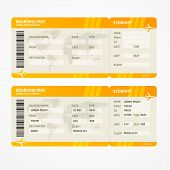 picture of boarding pass  - Vector Orange Modern Airline boarding pass tickets isolated on white - JPG