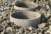 stock photo of septic  - Underground concrete septic tanks on construction site - JPG