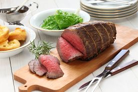 stock photo of wagyu  - roast beef with yorkshire pudding - JPG