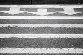 stock photo of pedestrian crossing  - Three white arrows and lines on dark gray asphalt road pedestrian crossing road marking - JPG