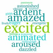stock photo of aroused  - Excited word cloud on a white background - JPG