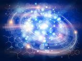 stock photo of formulas  - Blue radial technology background  - JPG
