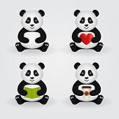 image of panda  - Cute cartoon pandas isolated on light background - JPG