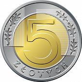 pic of 5s  - vector reverse Polish Money five zloty gold and silver coin  with Value and 5 leaves - JPG