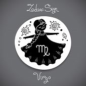 picture of horoscope signs  - Virgo zodiac sign of horoscope circle emblem in cartoon style - JPG