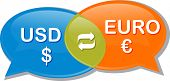 picture of negotiating  - Illustration concept clipart speech bubble dialog conversation negotiation of currency exchange rate Euro USD - JPG