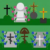 stock photo of tombstone  - Collection of tombstones and crosses with flowers on green background - JPG