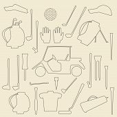 picture of designated driver  - Golf sport items linear icon set - JPG