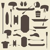 picture of raft  - Rafting sport items silhouette icon set - JPG