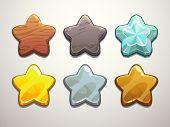 picture of diamond  - Set of wooden stone diamond golden silver and bronze stars - JPG