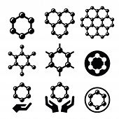 foto of graphene  - Graphene nanomaterial chemical structure icons set isolated on white - JPG