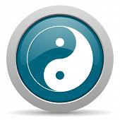 stock photo of ying yang  - ying yang blue glossy web icon