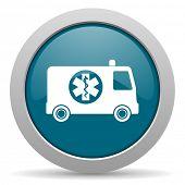 pic of ambulance  - ambulance blue glossy web icon - JPG