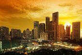 foto of klcc  - beautiful sunset over downtown of Kuala Lumpur - JPG