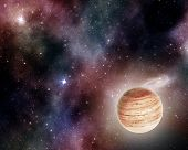 picture of cosmic  - jupiter on background of stars and cosmic gas - JPG