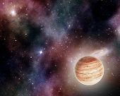 pic of stellar  - jupiter on background of stars and cosmic gas - JPG